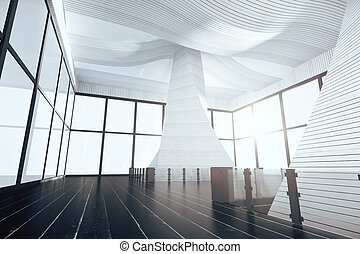 render, moderne, plancher, noir, intérieur, blanc, vide, 3d