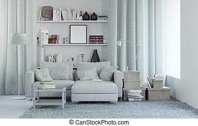 render, moderno, interno, bianco, decor., 3d