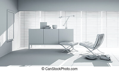 render, modernos, desenho, argila, interior, 3d