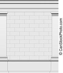 render, mur, grec, romain, 3d, côté, structure, typique