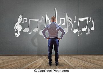 render, mur, notes, musique, devant, homme affaires, 3d