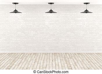 render, mur, sur, lampes, fond, intérieur, brique, 3d