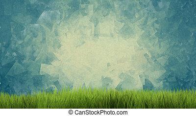 render, natureza, verde, fundo, capim,  3D