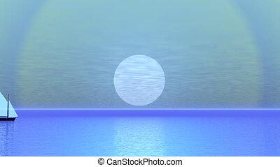 render, nawigacja, -, zachód słońca, łódka, 3d