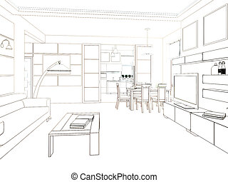 render, nowoczesny, projektować, wewnętrzny, living-room., 3d