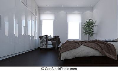 3D Contemporary Bedroom Interior - Render of 3D Contemporary...