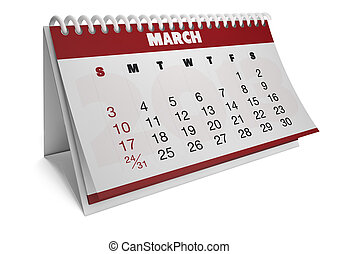 march - render of a 2013 calendar with real dates of march