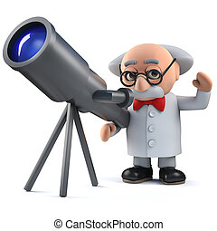 3d mad scientist character looking at the stars with his telescope