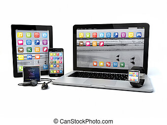 render of a group of gadgets: tablet pc, smart phone, laptop, smart watch and media player.
