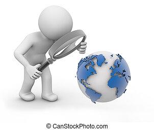 analyzing world - render of a man analyzing world