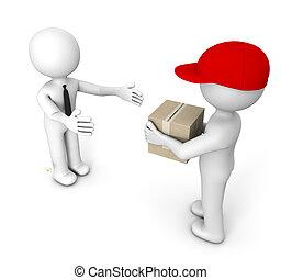 render of a man delivering a cardboard