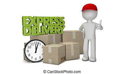 express delivery - render of a man with cardboards and the...