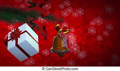 Christmas balls and gift rotate