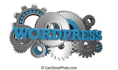 wordpress - render of gears and the text wordpress