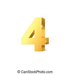 Render of golden number four, realistic mockup vector illustration isolated.