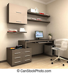 render of home work station - private study, a table with...