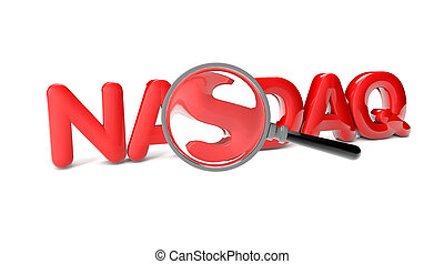 nasdaq - render of the text nasdaq and a magnifying glass