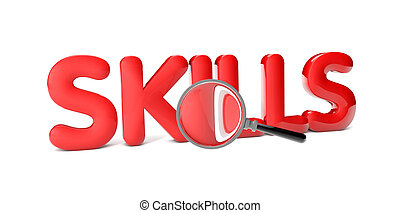 skills - render of the text skills isolated on white ...