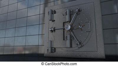 Render of the vault door. video. 3D Green background