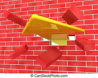 render of yellow arrow breaking brick wall