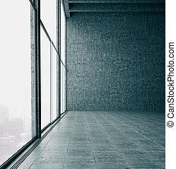 render, oficina, windows, wall., cocrete, panorámico, 3d