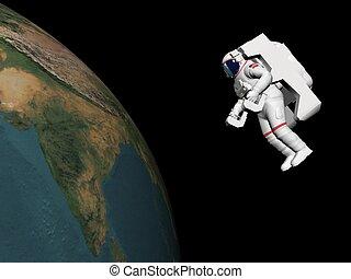 render, -, olhar, astronauta, terra, 3d