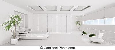 render, panorama, chambre à coucher, intérieur, blanc, 3d