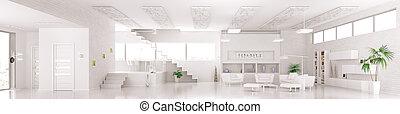 render, panorama, intérieur, 3d, blanc, appartement, moderne