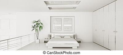 render, panorama, moderne, chambre à coucher, intérieur, 3d