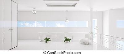 render, panorama, moderne, intérieur, blanc, 3d