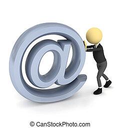 render, pessoa, sobre, sinal, e-mail, white., 3d