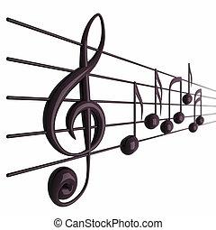 render, profundidad, musical, aislado, campo, notas, 3d, blanco