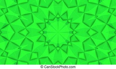 render, résumé, patterns., vert, kaleidoscope., animé, 3d