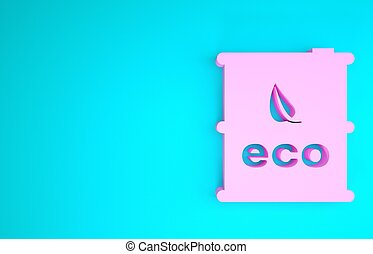 render, recycle., trumma, concept., canister., isolerat, 3, drivmedel, bio, grön, bakgrund., blå, ikon, eco, illustration, rosa, minimalism, miljö