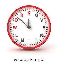 render, reloj, trabajo, texto, tiempo extraordinario, 3d