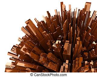 render, resumen, aislado, plástico, plano de fondo, blanco, bloques, 3d