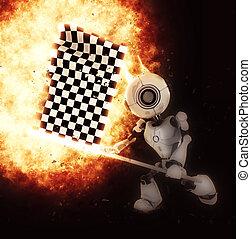 render, roboter, fahne, explodieren, 3d, chequered