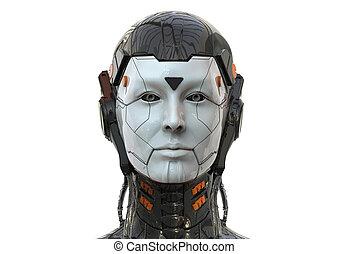render, sci-fi, femme, fond, robot, femme, 3d, artificiel, androïde, intelligence