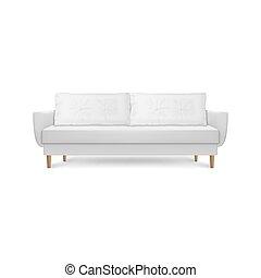 render, semplice, lounge., disegno, vivente, stile, ufficio, isolato, divano, divano, lusso, interno, bianco, 3d, moderno, cuscini, stanza, closeup, fondo, cuoio, realistico, vettore, ricezione, o