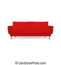 render, semplice, lounge., disegno, vivente, stile, ufficio, isolato, divano, divano, lusso, interno, bianco rosso, 3d, moderno, cuscini, stanza, closeup, fondo, cuoio, realistico, vettore, ricezione, o