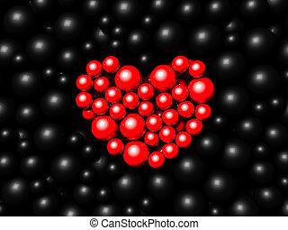 render, sfere, sfondo nero, rosso, 3d