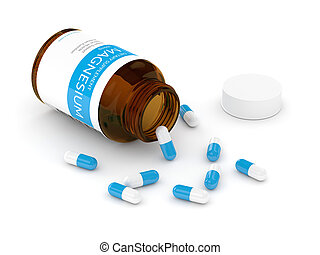 render, sopra, magnesio, bottiglia, bianco, pillole, 3d