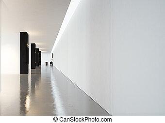 render, spazio, contemporaneo, frames., nero, galleria, 3d