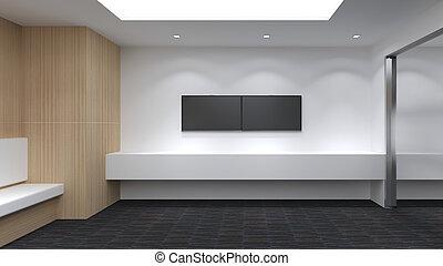 render, stanza, moderno, su, illustrazione, vuoto, disegno interno, beffare, 3d