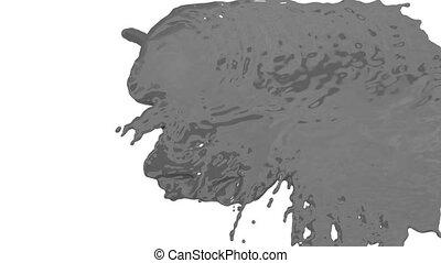 render, sur, égouttement, bas, fond, ruisseau, -, peinture, version, 6, blanc, 3d, écran, white., fond, alpha, tomber, overlays., transition, masque, gris, ou