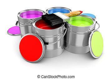 render, színes, vödör, festék, háttér, fehér, 3