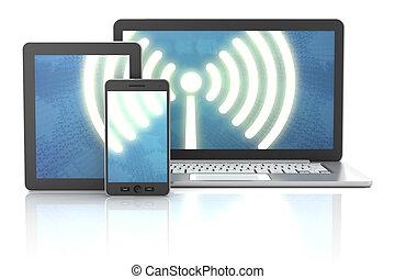 render, tabletta, laptop, összeköttetés, drótnélküli távíró,...