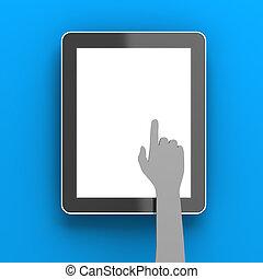 render, tablette, cliqueter, copyspace, main, papier, numérique, 3d