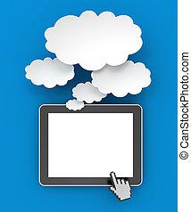 render, tablette, copyspace, pensée, numérique, bulles, 3d
