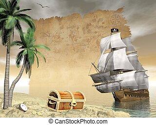 render, trésor, -, conclusion, bateau, pirate, 3d